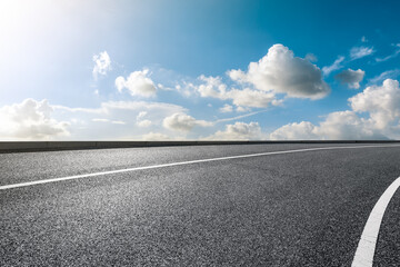 Empty and clean asphalt road and sky landscape in summer, Asia