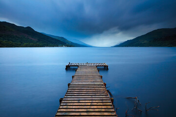 Moody Image of a Jetty looking down Loch Earn, Southern Highland, Scotland, UK.