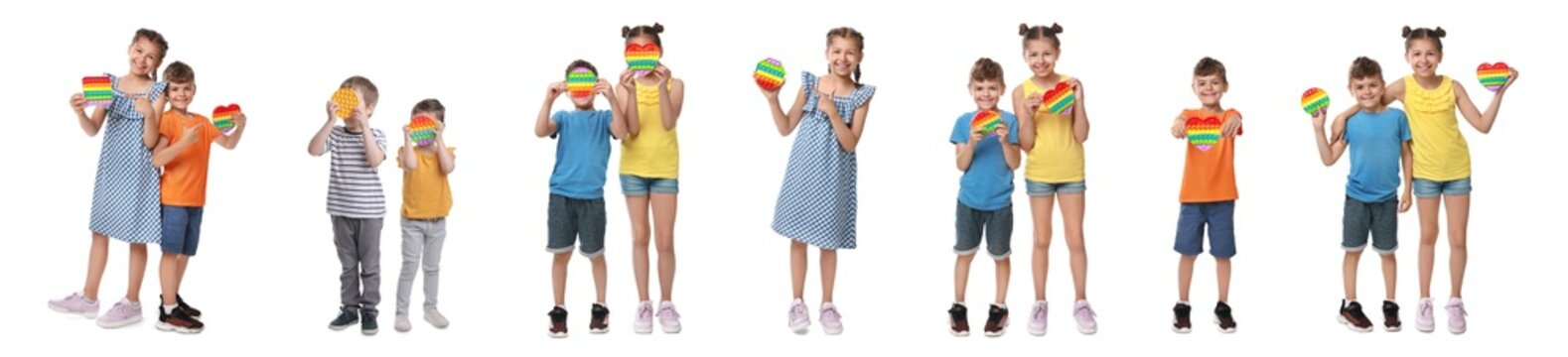 Cute children with pop it fidget toys on white background, collage. Banner design