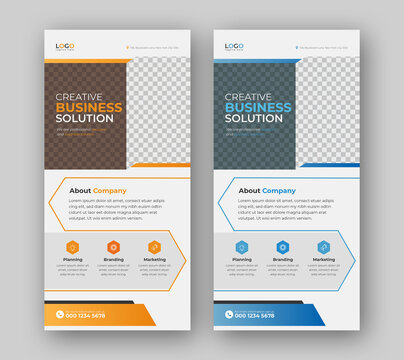 Dl rack card flyer or roll-up web banner for corporate business concept vector design template.