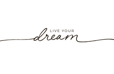 Live your dream lettering design with swashes. Romantic inscription, positive quote. Greeting card with black line calligraphy. Modern monoline calligraphy banner. Motivation and inspiration slogan