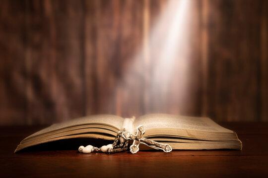 Light beam shining on bible
