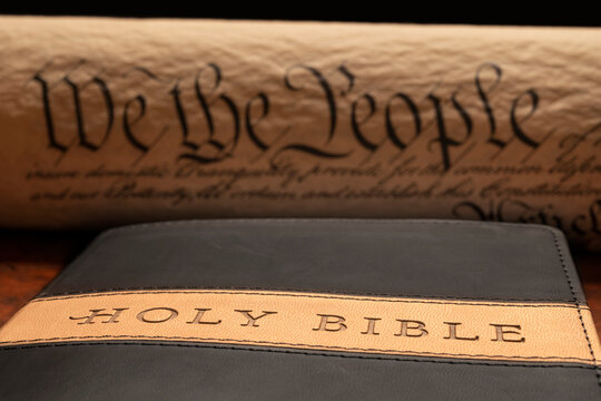 Crucifix on Bible with Constitution