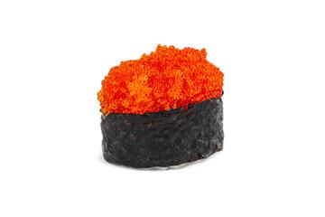 Fototapeta Japanese gunkan sushi with tobiko caviar on a white background obraz