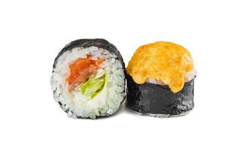 Fototapeta japanese baked sushi rolls with salmon on a white background obraz