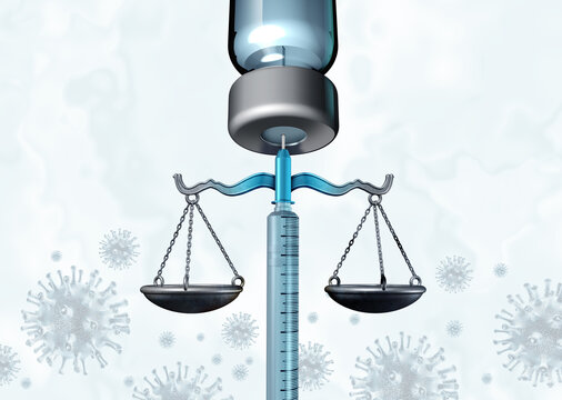 Vaccination mandate policy and Vaccine mandates law and regulations concept as a syringe or needle representing medical law and government legislation for mandating preventative infection medicine