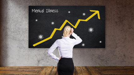 blonde buisinesswoman in front of a blackboard with a rising graph and the message MENTAL ILLNESS