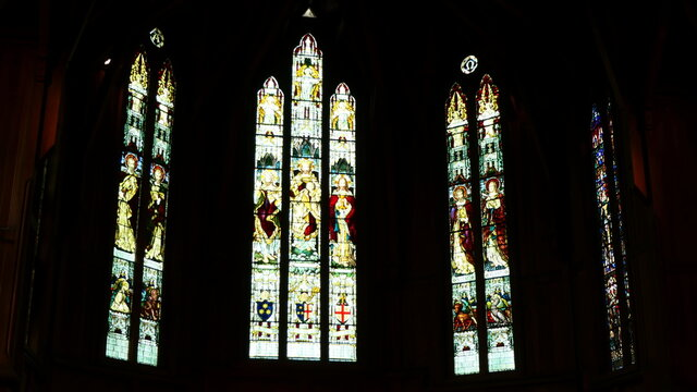 shot of the beautiful window art in a religious Christian or catholic chapel
