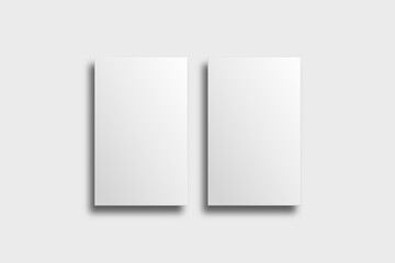 Blank business card mockup vector in white tone with front and rear view