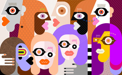 Hypnotic person among a group of people modern art graphic illustration. Abstract artwork of many different faces.