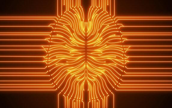 Glowing orange digital computer brain circuit diagram illustrating artificial intelligence