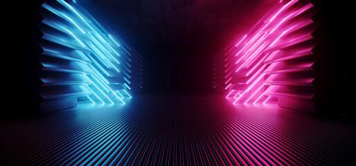Neon Purple Blue Stage Club Dance Showroom Glowing Laser Sci Fi Futuristic Dark Concrete Alien Tunnel Hallway Corridor Striped Metal Floor Glossy Realistic Background 3D Rendering