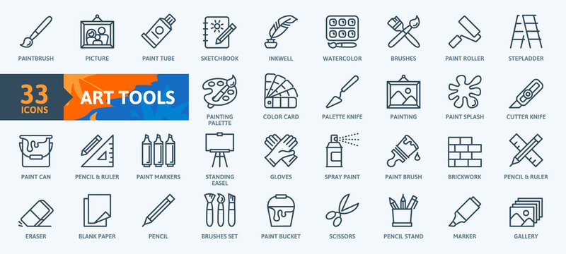 Paint art tools, design - thin line web icon set. Contains such Icons as Spray, Color palette, Paint Bucket and more. Outline icons collection. Simple vector illustration.