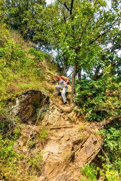 Abstieg im Klettersteig Dolling oberhalb von Hatzenport - Hatzenporter Laysteig