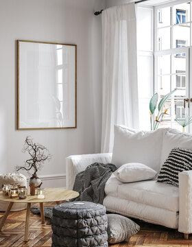 Frame mockup in Scandinavian living room interior, 3d render