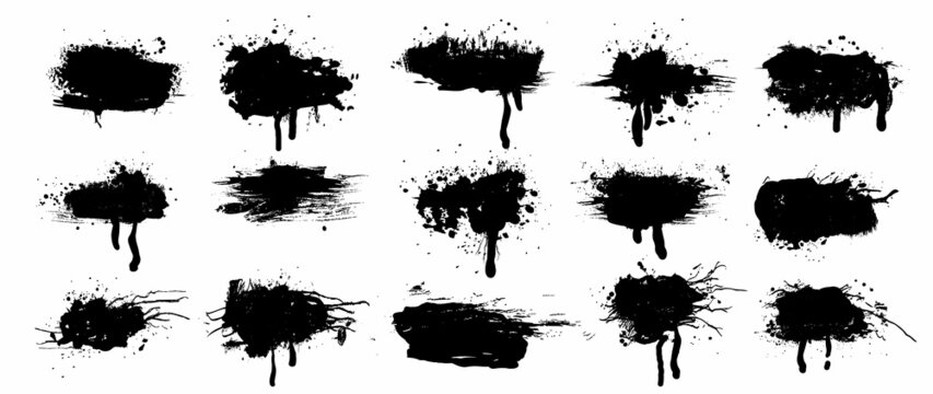 Spray Paint Vector Elements isolated on White Background, Lines and Drips Black ink splatters, Ink blots set, text frame, Street style.