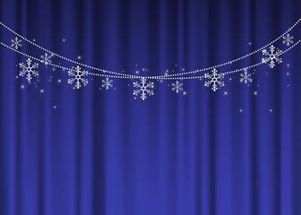Winter afbeelding achtergrond illustratie materiaal slinger vector Kerst met blauwe gordijnen en sneeuwvlokken
