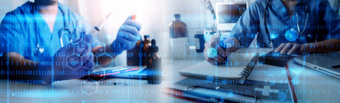 Virtual hospital, telemedicine, online medical, smart health, medical technology development concept. Doctor using digital tablet connecting with patient and health care icons on virtual screen