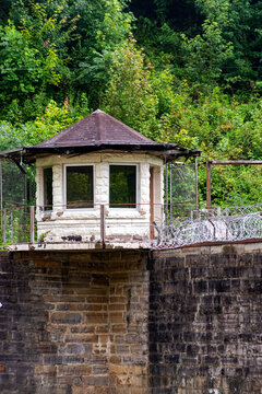 guard tower at an old abandoned prison in the Great Smoky Mountains