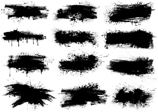Ink Splashes Brush Strokes - Black Abstract Illustrations Isolated on White Background as a Source for Your Graphic Projects, Vector