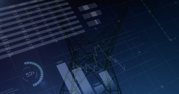 Graphs and statistics on transmission towers 4k