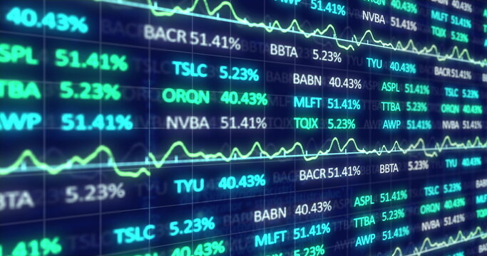 Image of stock market display with stock market tickers and graphs 4k