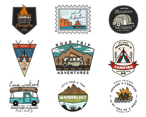 Obraz Camping adventure badges logos set, Vintage travel emblems. Hand drawn stickers designs bundle. Hiking road trip, rv, canoe labels. Outdoor camper insignias. Logotypes collection. Stock . - fototapety do salonu