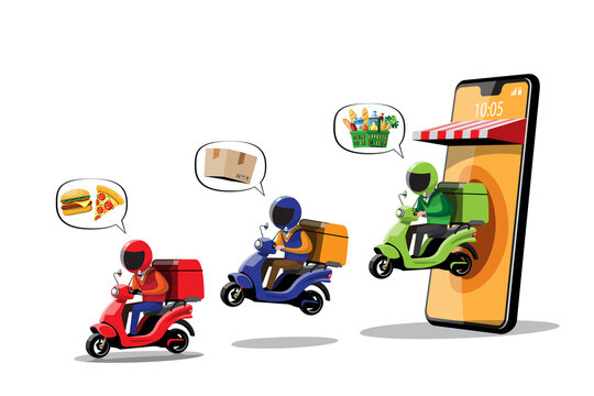 illustrations of various colorful motorcycles.