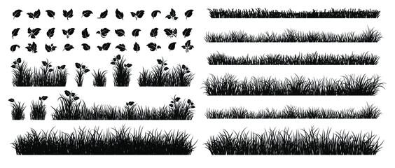 Obraz Set of Grass Isolated on White Background.  - fototapety do salonu