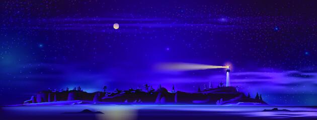 vuurtoren in de nacht op heuvel
