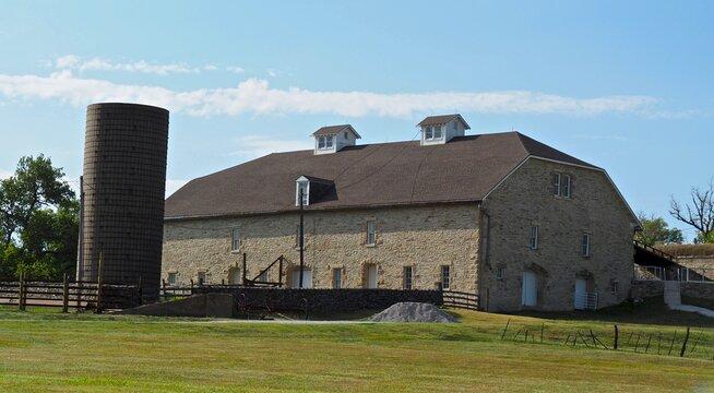 19th Century limestone barn at the Tallgrass Prairie National Preserve in Kansas.