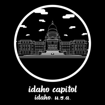 Circle icon line Idaho Capitol. vector illustration