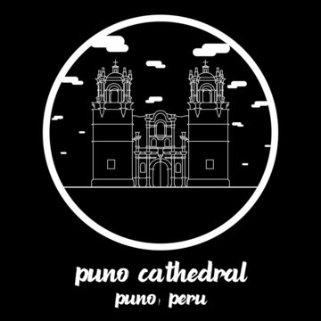 Circle icon line Puno Cathedral. Vector illustration