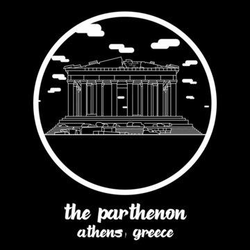 Circle icon line The Parthenon. Vector illustration