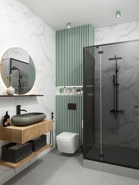 3d rendering of modern bathroom with shower