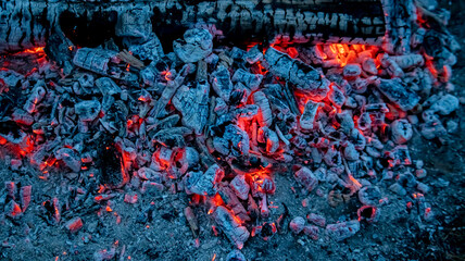 red hot coals from the fire, backgrounds, textures