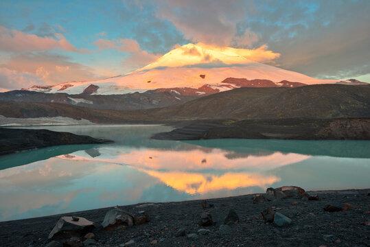 Elbrus top in sunset lights