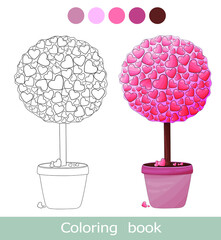 Obraz Valentines day coloring book page. Love tree Isolated contour. Pink topiary, bonsai in the pot. Pink sakura trees valetine's day coloring book page. Worksheet. Coloiring book for children. Activity ga - fototapety do salonu