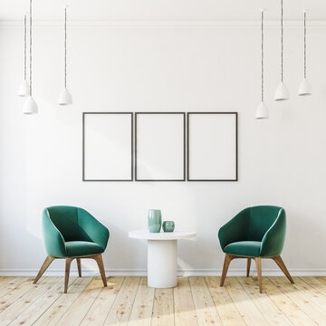 Gallery room interior with three white empty posters