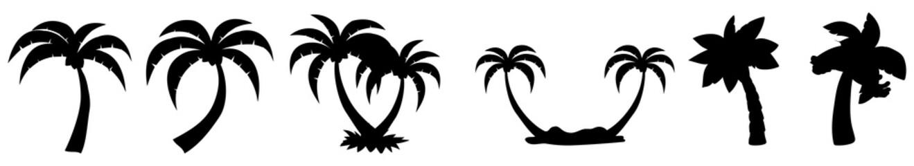 Obraz palm tree silhouettes. palm, tree, beach, tropical, summer, vector, sea, illustration. palm trees icons set. - fototapety do salonu