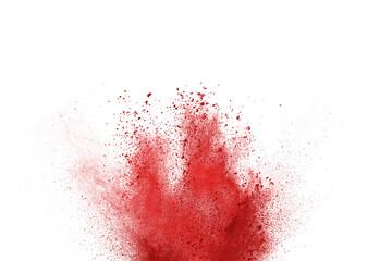 red splashes powder on white background.