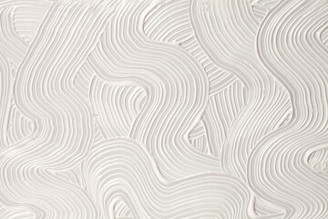 Abstract white color acrylic wave wall painting. Canvas vintage grunge texture horizontal background.