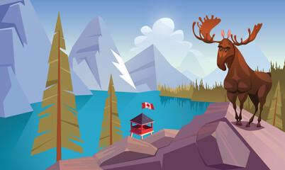 Moose and Canadian National Park landmark scene