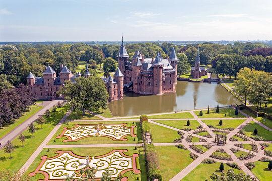 Aerial from historical castle De Haar near Utrecht in the Netherlands