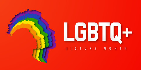 Obraz Design LGBTQ+ HISTORY MONTH.  People's faces look up in LGBT colors. Paper cut. Minority problem. PRIDE parade. Coexistence harmony and multicultural community integration. Illustration - fototapety do salonu