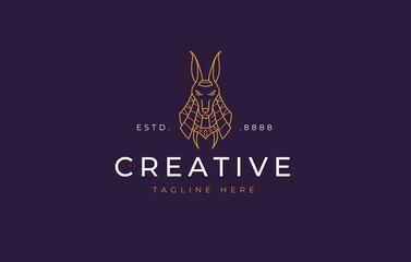 Obraz Anubis Logo Design Template. Egyptian dog mythological animal line design. Creative Vector Icon Concept. - fototapety do salonu