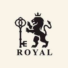 Obraz Heraldry Lion logo design. Royal animal crest symbol with key and crown icon. Vector illustration. - fototapety do salonu