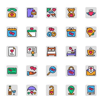 Filled color outline icons for valentine day.