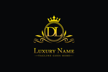 Obraz Royal Luxury Letter DL OR LD King with Gold Crest Crown logo collection For Boutique hospitality Hotels and Fashion Brand Identity Monogram  - fototapety do salonu