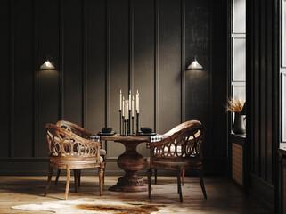 Dark vintage interior with wooden furniture, 3d render